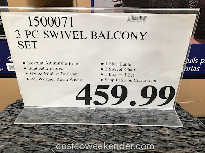 Deal for the 3-piece Swivel Balcony Seating Set at Costco