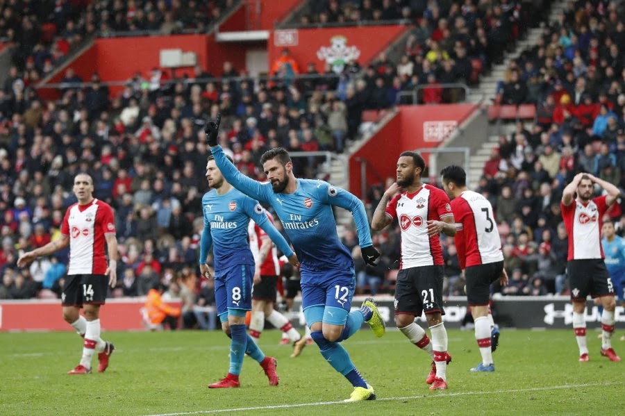 SPORTS NEWS: Arsenal draw 1-1 with Southampton as Giroud rescued them