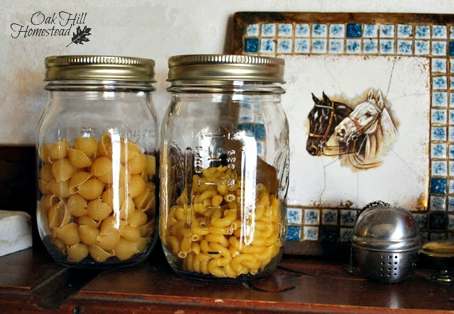 Storing dry pasta in canning jars.
