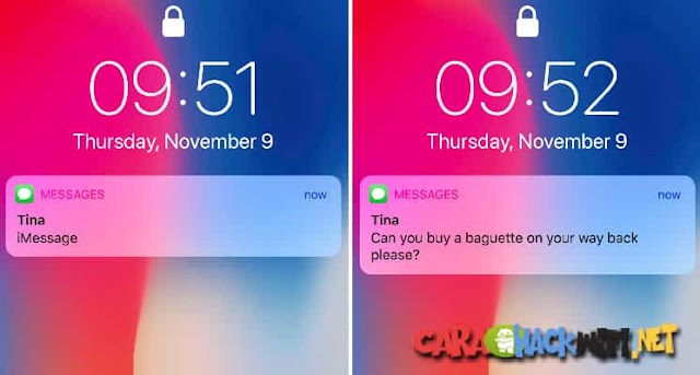 Cara Menampilkan notifikasi pada layar terkunci iphone x