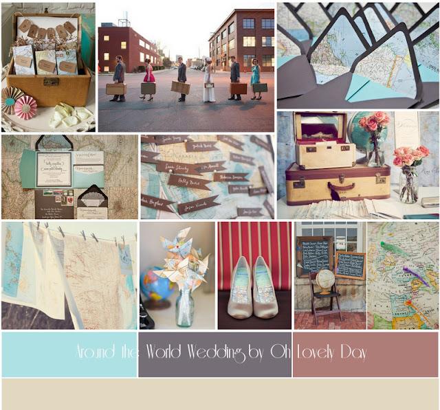 travel inspired wedding inspiration board