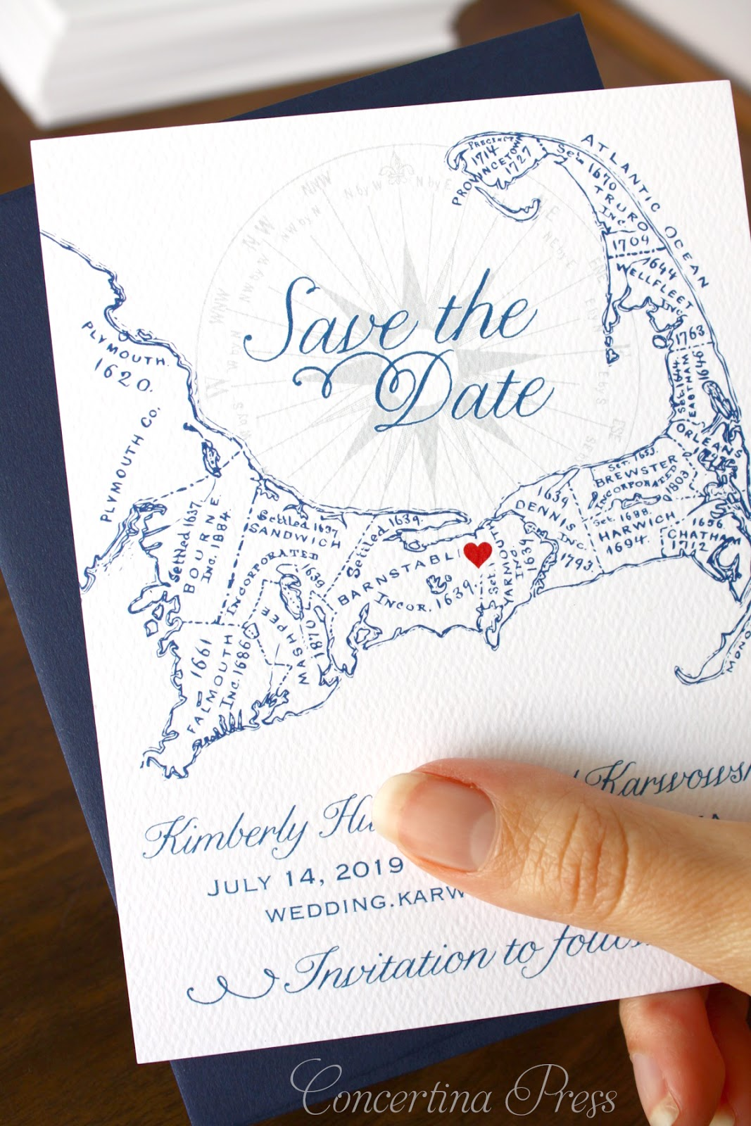 Cape Cod Save the Date personalized with a heart from Concertina Press