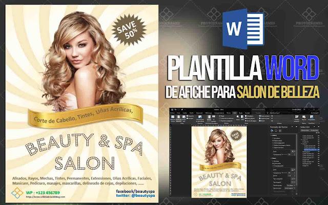 Plantilla para afiche, volante o banner de salon de belleza editable en Office Word