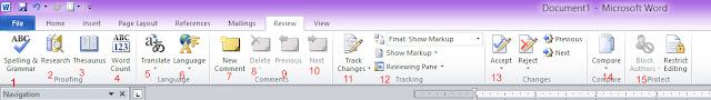 Fungsi Toolbar review pada microsoft word