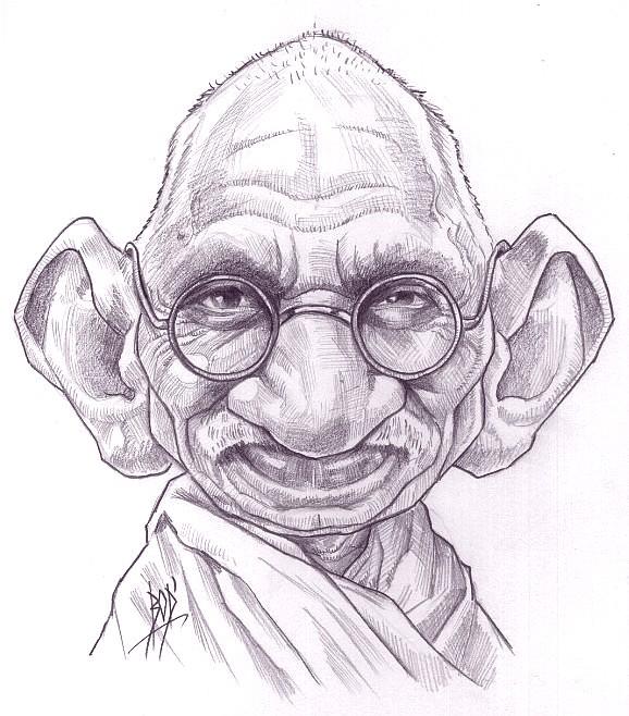 Connu LES CARICATURES DE BOD': Gandhi DX01