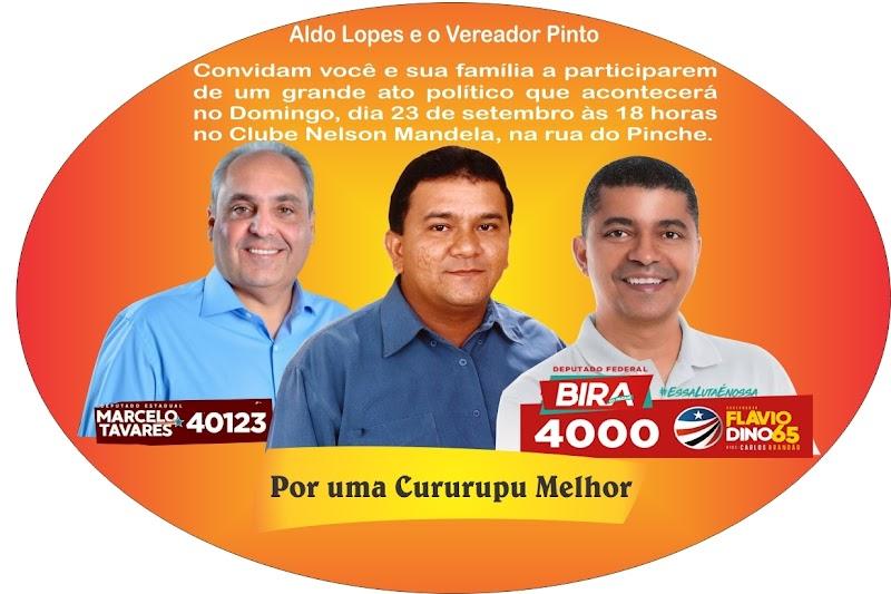 Aldo Lopes recebe Bira do Pindaré e Marcelo Tavares neste domingo para reunião política em Cururupu