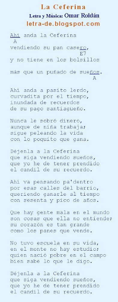 Letras y acordes de la chacarera La Ceferina
