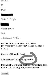 Adekunle Ajasin first batch admission list