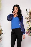 Bluza dama StarShinerS albastra de ocazie cu un croi mulat