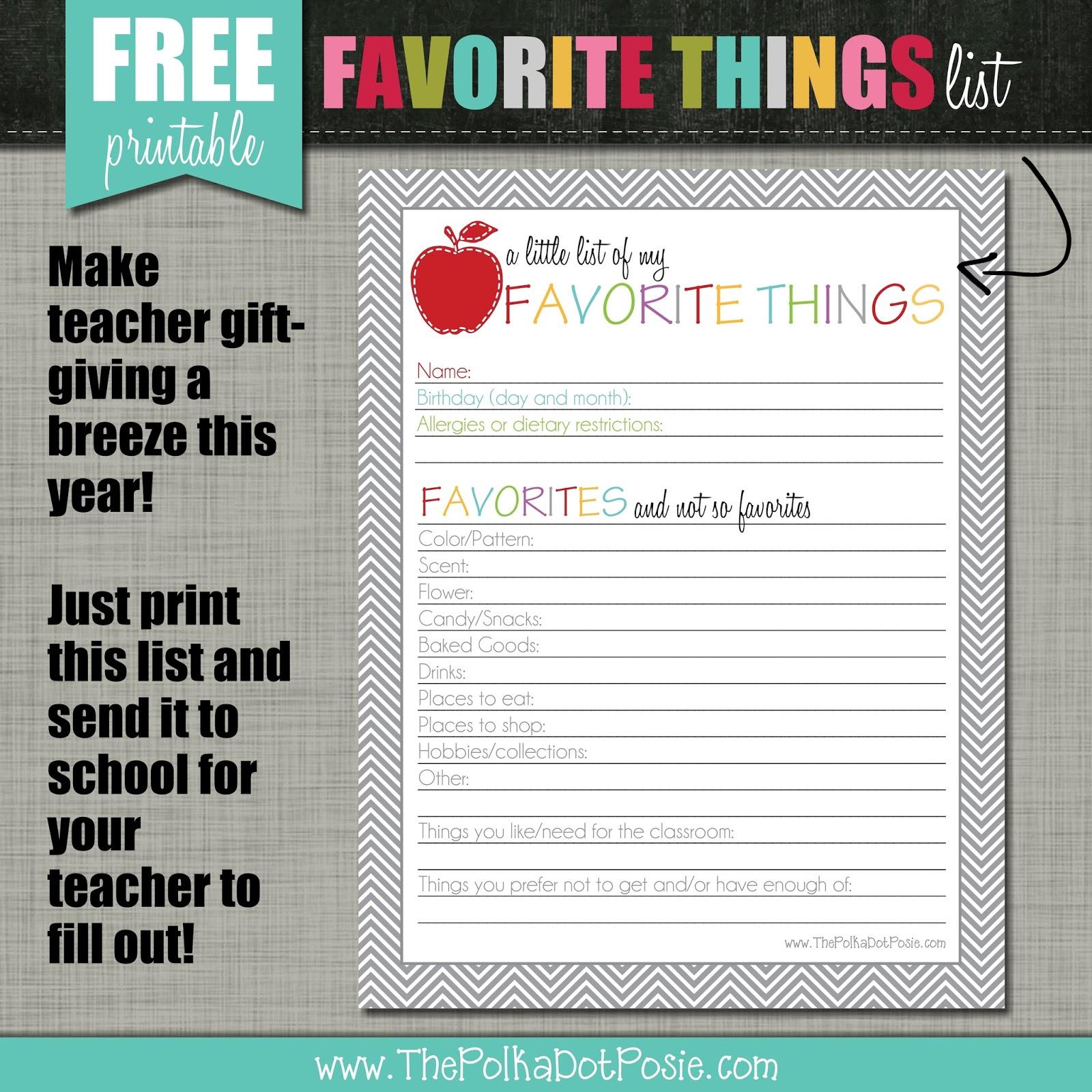 photo regarding Teacher Favorite Things Printable titled The Polka Dot Posie