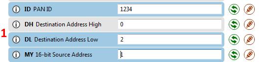 Parâmetros do primeiro módulo Xbee