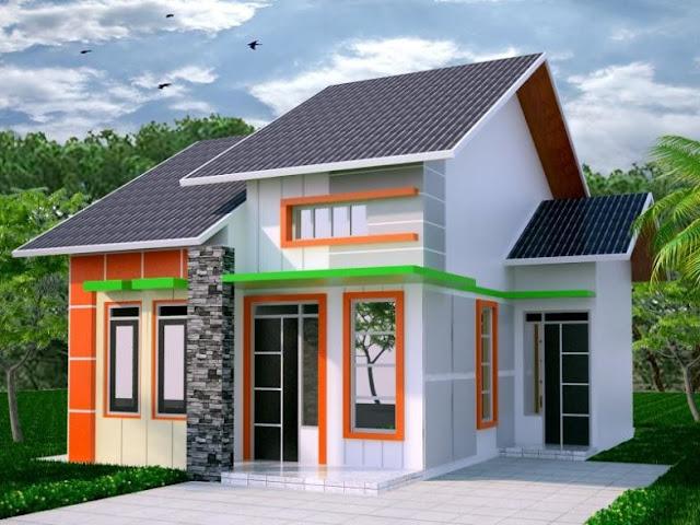 Contoh rumah minimalis warna orange