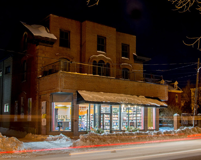 Portland, Maine USA February 2017 photo by Corey Templeton of Print: A Bookstore at 273 Congress Street at night.