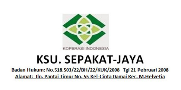 KSU SEPAKAT JAYA : STAFF OPERASIONAL, MARKETING, MANAGER DAN AUDITOR - MEDAN, INDONESIA