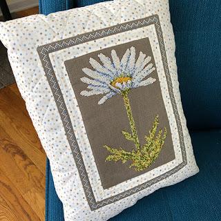Daisy Cross stitch embroidery Pillow