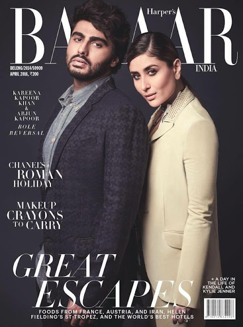 Arjun Kapoor And Kareena Kapoor Khan On The Cover Of Harper's Bazaar India Magazine April 2016 Issue