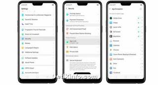 menu mengunci aplikasi di OPPO R17 Pro