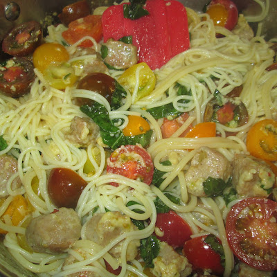 Angel Hair Pasta with Italian Sausage and Heirloom Tomatoes