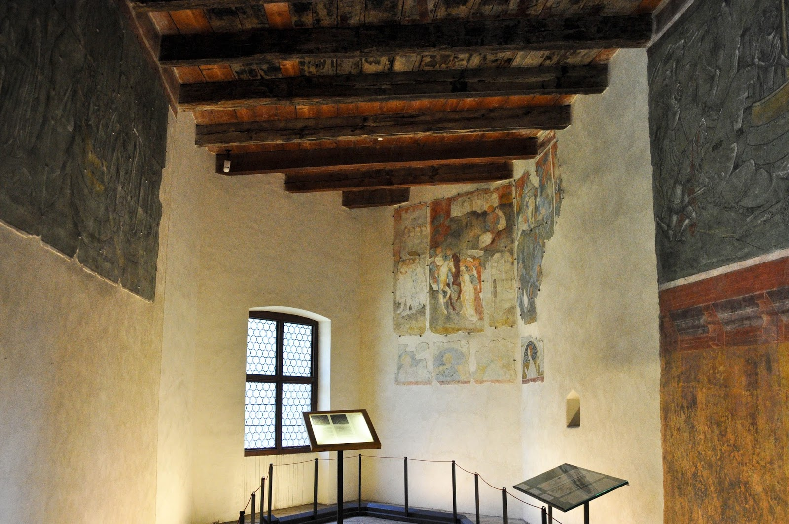 Room with preserved frescoes, Runkelstein Castle, Bolzano, South Tyrol, Italy