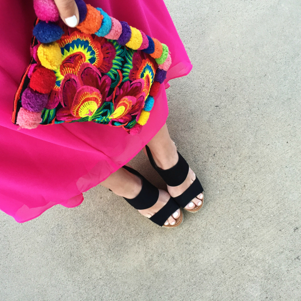 pom pom clutch, black wedges, pink maxi dress