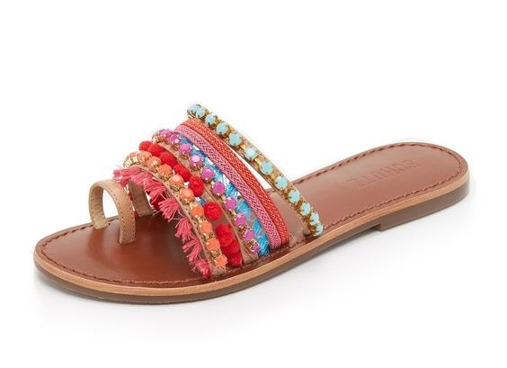 Schutz Beaded Sandal with Jewels Tassels and Pom Poms