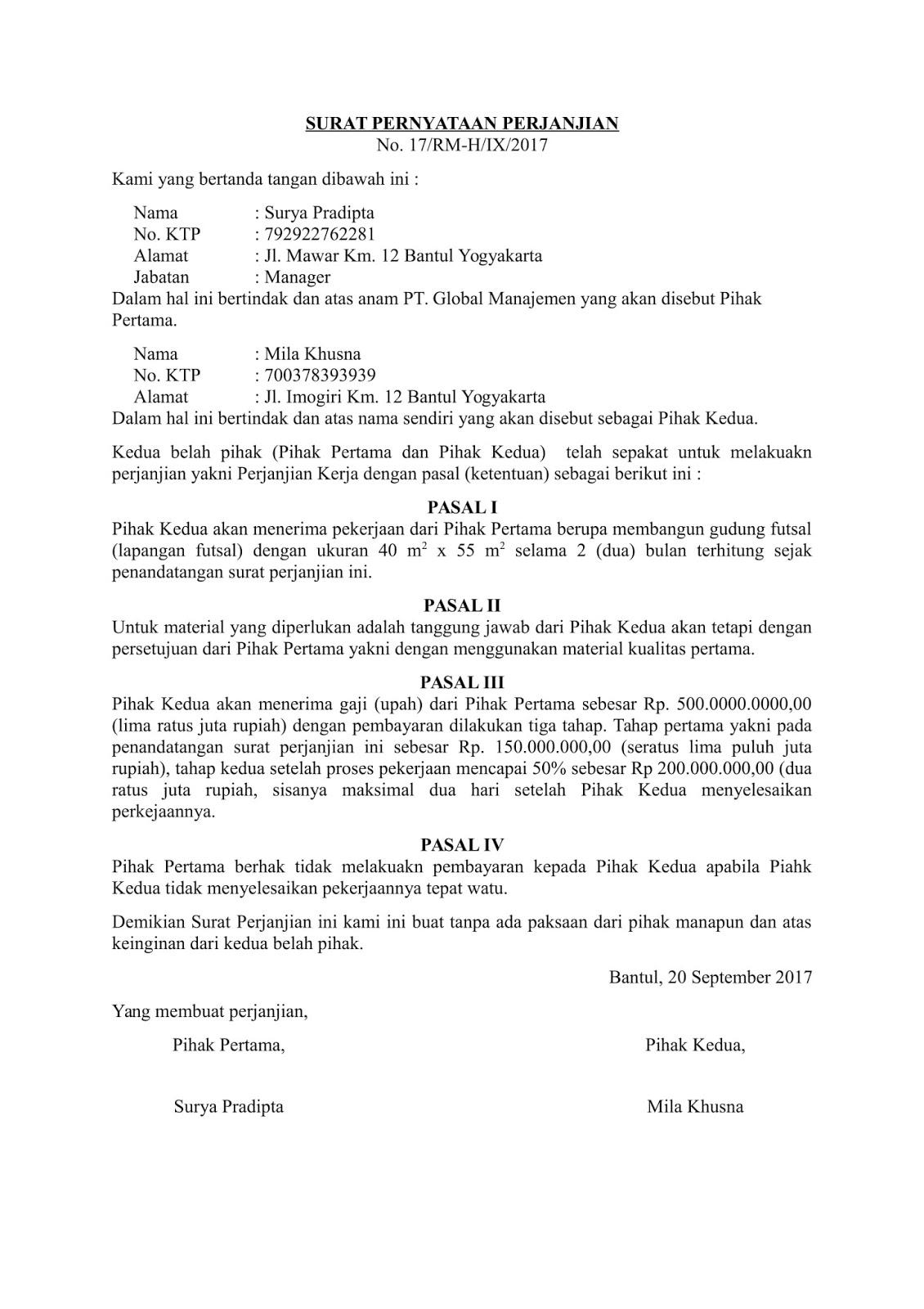 contoh surat pernyataan perjanjian - wood scribd indo