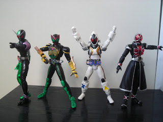 Bandai SH Figuarts Kamen Rider OOO TaToBa Combo W Double Cyclone Joker Fourze Wizard Flame Style