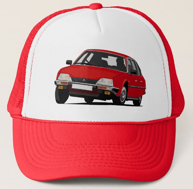 Red Citroën CX GTi on a customizable trucker hat