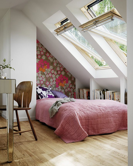 gambar desain kamar tidur di bawah atap bangunan