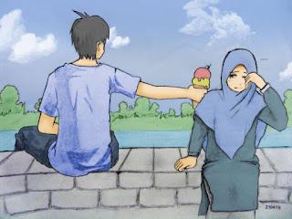 kartun islami pasangan muslim dan muslimah