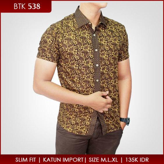 Model Baju Batik Pria Kombinasi Kain Polos Modern Galeri