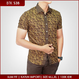 Model Baju Batik Pria Kombinasi Kain Polos Modern