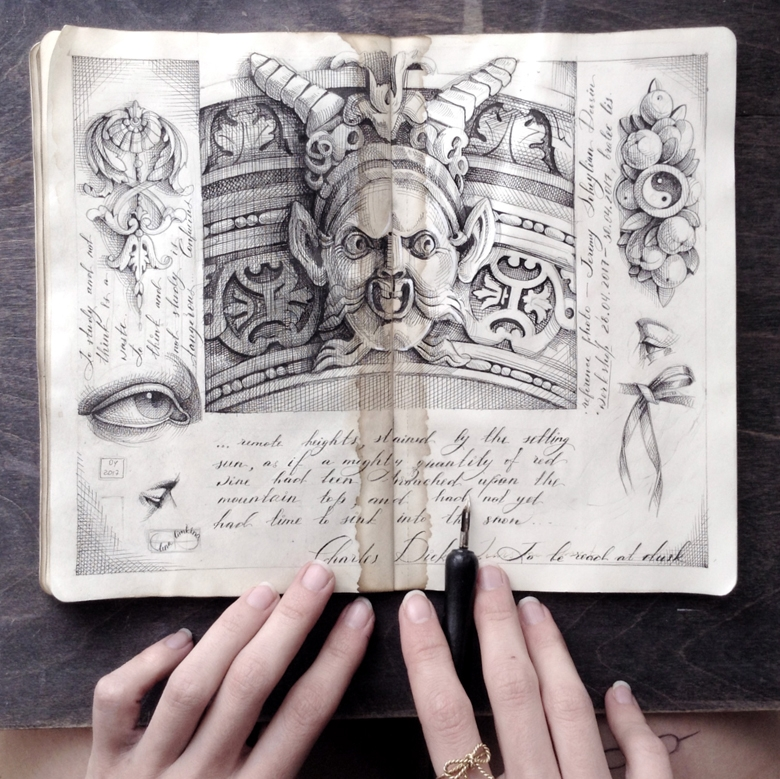 09-Elena-Limkina-Moleskine-Illustration-Adorned-with-Lovely-Calligraphy-www-designstack-co
