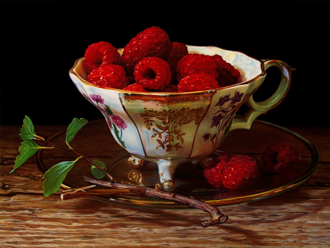 11-Raspberries-in-a-Vintage-Tea-Cup-Pierre-Raby-Urban-Landscapes-and-Still-Life-Realistic-Paintings-www-designstack-co