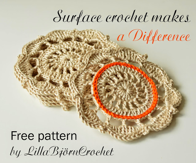 Free crochet pattern of a cotton coaster