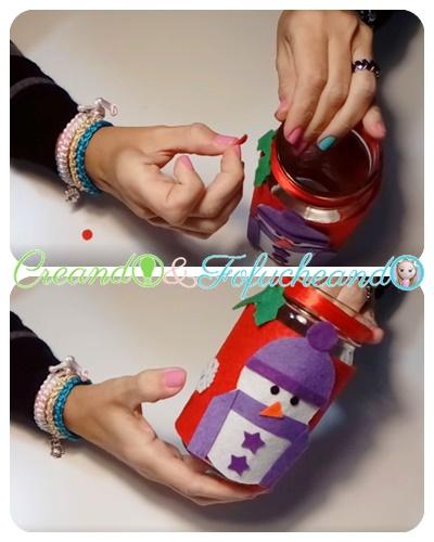 Decoración-Ideas-con-tarros-muñecos-de-nieve-en-fieltro-creandoyfofucheando