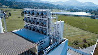 The Climeworks direct carbon capture plant in Switzerland removes carbon dioxide from ambient air. (Credit: Climeworks) Click to Enlarge.