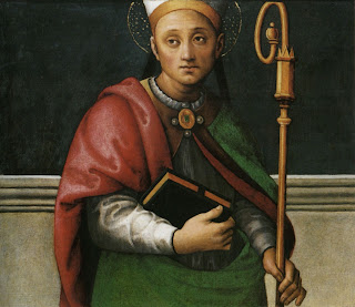 Herculanus, Bishop of Perugia, in a painting by the  artist Pietro Vannucci, known as Perugino