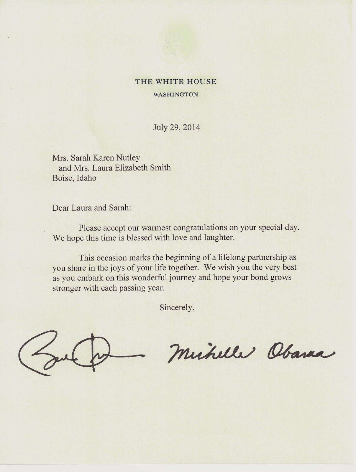 A Sample Thank You Letter You Can Steal From Pamela Grow Sarah Laura The Obamas Sent Us A Letter