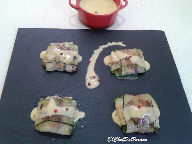 Raviolis de calabacin rellenos de marisco y shitake