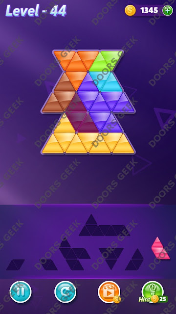 Block! Triangle Puzzle 7 Mania Level 44 Solution, Cheats, Walkthrough for Android, iPhone, iPad and iPod