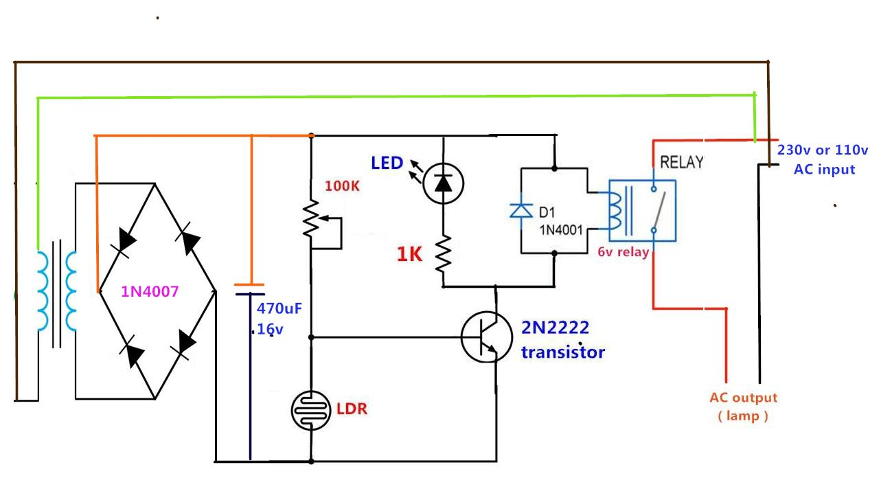 Power Gen Circuit Diagram List Part 2 Ac Relay Wiring Low Cost Daylight Nightlight Find Out Sensor Using One Transistor A