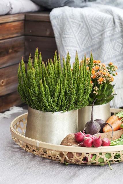 Inspirasjon til høstplanter i krukker - del 3 Furulunden.Stilleben av høstplanter på et brett.