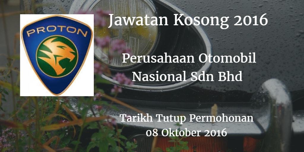 Jawatan Kosong Perusahaan Otomobil Nasional Sdn Bhd 08 Oktober 2016