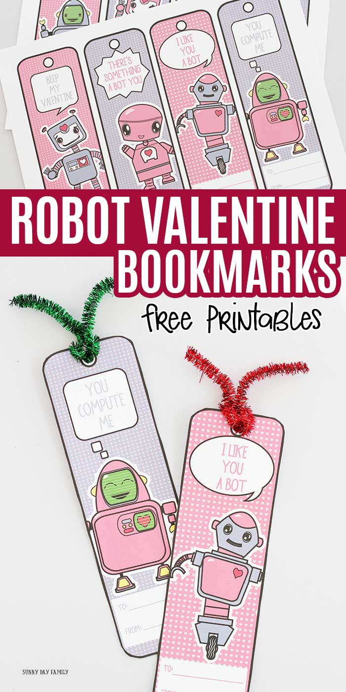 Adorable Robot Bookmarks for Valentine's Day! Kids will love these free printable robot valentine cards that double as bookmarks. Perfect for robot loving readers. Make a great non candy Valentine for kids too! #kidsvalentines #valentinesday #instantdownload #bookmarks #robots