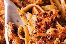 Chicken and Mushroom Pasta with Simple Pesto White Wine Sauce