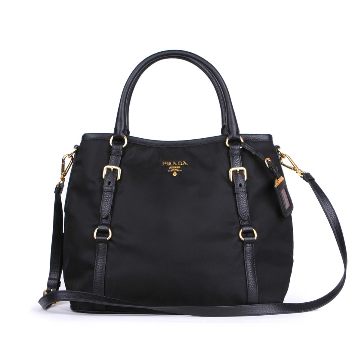 320b7653aa5e Prada Nylon Tessuto Vitello Daino Top Handle Bag BR4993 | Polka B ...