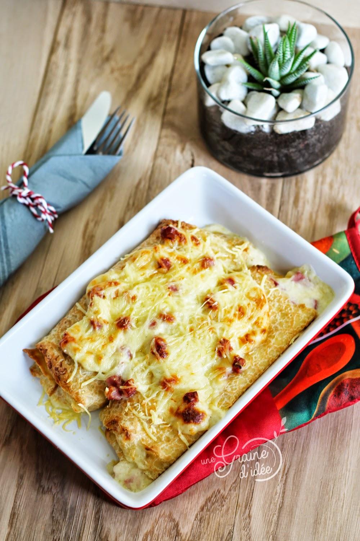 Crêpes fourrées béchamel jambon fromage - Une Graine d'Idée