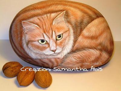 Ritratti di animali su sasso gatto persiano