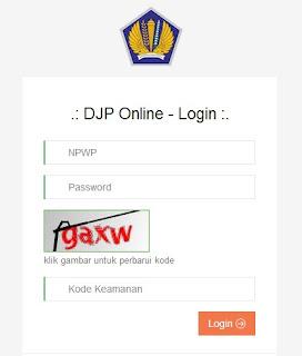 halaman login djp online pembuatan kode billing